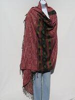 Yak Wool Blend|Shawl/Throw|Handloomed|Nepal|Reversible|Base Colors: Red & Sand
