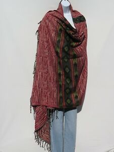 Yak+Sheep Blend Tribal Shawl/Throw  Handloomed Reversible Colors: Red & Sand