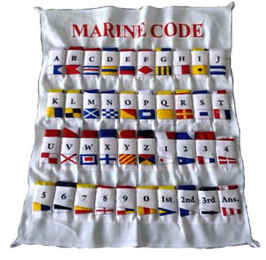 100% COTTON - MARINE NAVY Signal Code FLAG Set -Set of 40 flag with CASE