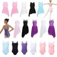 Girls Kids Lyrical Ballet Latin Dance Dress Gymnastics Leotard Dancewear Costume