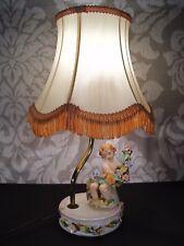 Lampe à poser Chevet Table en faïence émaillée milieu XXe Angelot Putti Chérubin