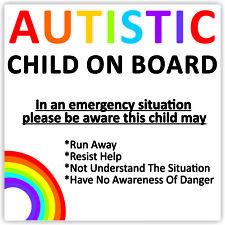 Autistic Child On Board Waterproof Car Sticker Advice/Warning