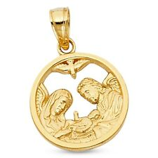 Baptism Coin Pendant Solid 14k Yellow Gold Round Medallion Charm Polished