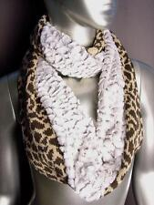 NEW WARM Brown Beige Leopard Knit Faux Fur Chinchilla Infinity Cowl Wrap Scarf