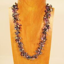 "22"" Blue Gold Stone Shell Chip Handmade Seed Bead Necklace FREE SHIPPING!"