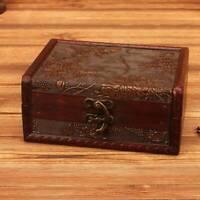 1PC Vintage Retro Wooden Storage Case Sundries Organizer Jewelry Treasure Box