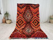 Vintage Boujaad Moroccan Handmade Rug 3'9x6'7 Berber Geometric Shag Wool Rug
