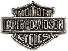 Harley Davidson Logo Biker Collector Pin, Antique Silver Plate, Made in USA, New
