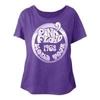 Pink Floyd World Tour 1968 Purple Women's Dolman Top Rock Band Concert T Shirt