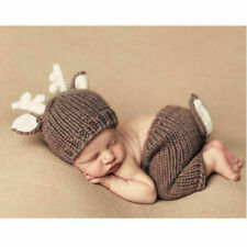 Neugeborene Baby Knit Strick Fotoshooting Kostüm Hirsch Mütze Höschen Brown