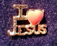 "Collectible Tac-style pins - ""I Love Jesus"" pin (gold plated / epoxy heart)"