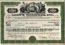$100 Loew's Theatres, Inc. Bond Stock Certificate