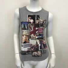 New Look Ladies Grey Photo Printed Sleeveless Dipped Hem T-Shirt Top UK Size 8