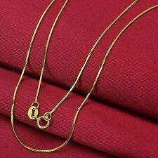 Elegant Solid AU750 18K Yellow Gold Chain Women's 0.6mm Snake Necklace 15.7inch