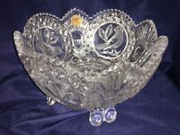 "Footed Leaded Crystal Bowl With Etched Birds Diamond Hand Cut. 8"" Tall"