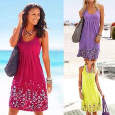 Women Casual Crew Neck Sleeveless T Shirt Floral Summer Beach Loose Slip Dress