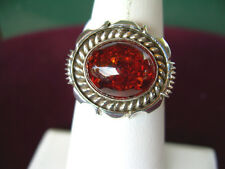 NAVAJO NATIVE AMERICAN AMBER & SILVER RING BY   ARTIE YELLOWHORSE SIZE 7