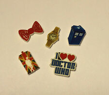 5 LOT DR WHO TARDIS FLOATING LOCKET CHARMS UK BOW TIE WATCH I LOVE HEART DR WHO