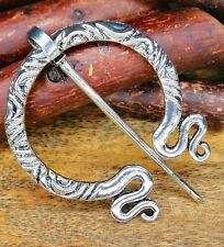 CELTIC VIKING SILVER VINTAGE PENANNULAR MEDIEVAL CLOAK BROOCH SHAWL/SKIRT PIN