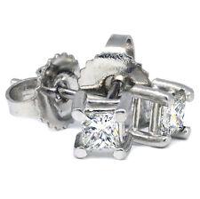 Platinum .20 TDW Solitaire Princess-cut Diamond Stud Earrings