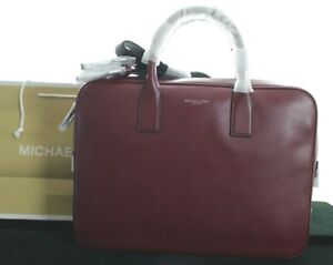 BNWT MICHAEL KORS MEN'S RUSSELL LARGE LEATHER BURNT MALBEC BRIEFCASE RRP £390