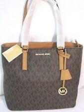 Michael Kors Morgan Medium Signature Monogram Tote Shoulder Bag Brown $228 NWT