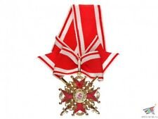 Cross of Order of St.Stanislaus 3d Class with swords red black enamel Russia Wwi