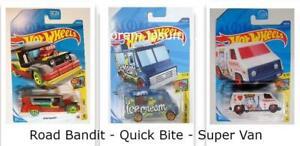 Hot Wheels -Super Van - Quick Bite - Road Bandit - (3) Art Cars 1 Lot