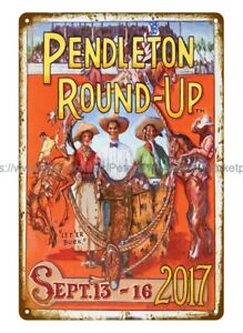modern wall decor pendleton roundup rodeo metal tin sign