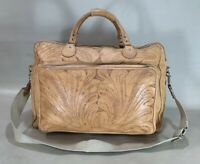 """Rare Hand Tooled Leather 20"""" Duffle Bag Carry On Weekender Luggage"""