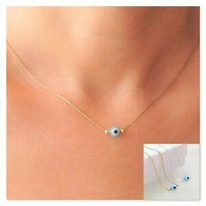 Light Blue Evil Eye Necklace Pendant Sterling Silver & Gold Plated Jewelry Gift