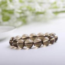 Natural Gemstone Stone Quartz Bracelet Bangle Cuff Round Beads 14mm Smoky Quartz