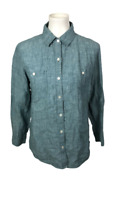 Tommy Bahama Women's Size S Blue 100% Linen Button Down Long Sleeve Shirt Top