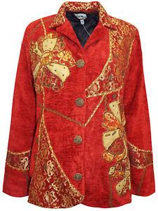 Ladies Red Overlay Patchwork Embellished Velvet Jacket Size 16-26 LJOct13-2