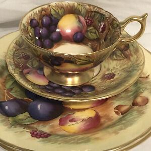Aynsley Gold Fruit Orchard Trio, Footed Teacup & Saucer Signed Jones & Brunt Exc