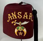 Authentic ANSAR Shriners Masonic Fez Tassel Hat Embroidered Logo Springfield IL