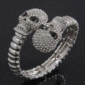 Clear Diamante 'Double Skull' Flex Bracelet In Rhodium Plating - Adjustable
