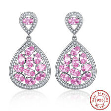 Oval Cut Waterdrop Pink Topaz S925 Sterling Silver Dangle Chandelier Earrings