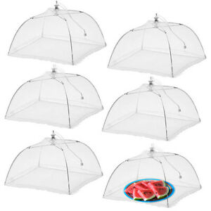"6pk Pop-Up Outdoor Food Cover Umbrella 17"" Mesh Tent Protectors Bugs BBQ Picnics"