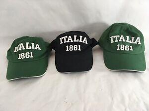 Italia 1861 Green Black One Size Strap Back Lot of 3 Baseball Caps (3)