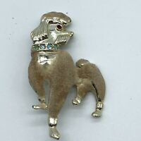 Vintage Poodle Pin Brooch Velveteen Flocked Blue Rhinestone Collar Gold Tone A11
