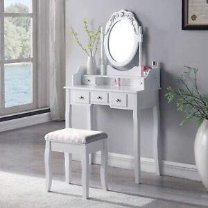 SALBAY Dressing Table With Stool Dresser Set 1 Mirror 5 Drawer Makeup Desk White