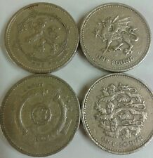 Old Round uk £1. Coins: Lion Rampant/ Welsh Dragon/ Three Lions/ Celtic Cross.