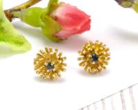 Vintage 14 CT Gold & Blue Topaz Starburst Stud Earrings  Gift Boxed