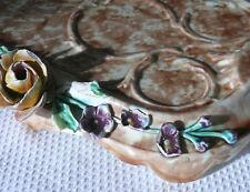 antikes Keramik-Tablett, Bad-Necessaire, Rosen, Blüten, marmoriert, Frankreich