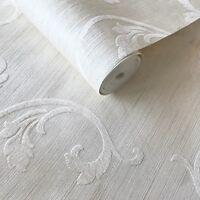 Off White Ivory Flocking Wallpaper Textured Flocked Damask flock Velvet 3D Rolls