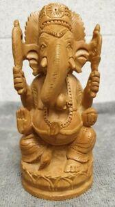 Vintage Wood Hand Carved Ganesh Figure 15.5 cm