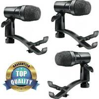 3 Mics For Drum Set Snare+Tom Floor Toms Cajon 3 pc DRST100 Kit+Microphone Clips