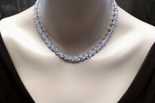 Wedding Prom Collar Choker Round Teardrop Cluster Necklace 14K White Gold Over