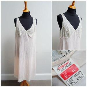 "Vintage Full Slip Petticoat 1980s St Michael Peach Fabric Lace Ladies 38"" Bust"
